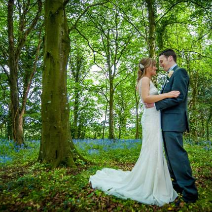 Wedding couple romance in forest